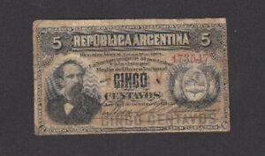 5 CENTAVOS VG BANKNOTE FROM ARGENTINA 1883 PICK-5 RARE