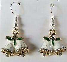 Christmas Bells Dangle Earring CRYSTAL accent GOLD & 925 SILVER PLATED hook NEW