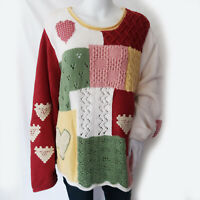 Orvis Womens XL Multi-Color Heart Patch Chunky Knit Sweater 100% Cotton