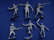 "MARX WWII JAPANESE SOLDIERS FIGURES RECAST 6"" DIFFERENT POSITIONS SILVER COLOR"