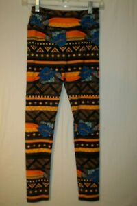 LULA ROE Womans One Size Small/Medium Stretch Leggings Black & Orange