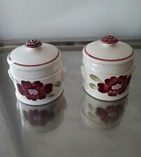 lot de 2 anciens pots couverts (foie gras) Sarreguemines, modèle marguerite