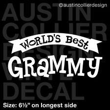 """6.5"""" WORLD'S BEST GRAMMY vinyl decal car window laptop sticker - grandma gift"""