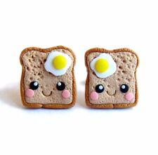 Funny Handmade Miniature Food Eggs On Toasts Kawaii Gifts Small Earrings Jewelry