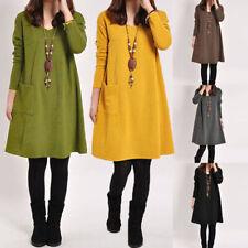 ZANZEA Women Autumn Winter Tunic Blouse Top Shirt Plus Size Sweater Jumper Dress