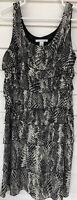 Kenneth Cole Size 14 Silk Sleeveless Animal Print Ruffle Dress midi Black ivory