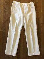 ST. JOHN SPORT Pants Women's Off White Beige Stretch Size 14 High Rise