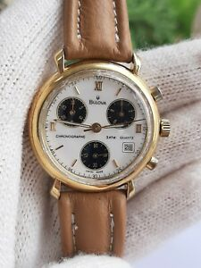 BULOVA WATCH CHRONOGRAPH QUARTZ 3ATM ETA 251.272 DATE GOLD PLATED MENS SWISS