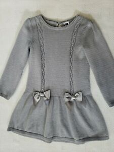 Janie And Jack Girls Gray Sweater Dress Size 4 Excellent Used Condition