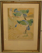 WUANITA SMITH 'Kingfisher's Breakfast' White Line Color WOODCUT - Provincetown