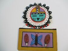 VINTAGE NATIVE AMERICAN INDIAN SCULPTURE HANGING PAINTING SIGNED RARE TRIBAL ART