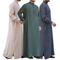 Men's Muslim Thobe Islamic Arabic Kaftan Full Length Long Sleeve Robe Tops 03