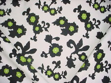 12-1/4Y SERENA & LILY BLACK WHITE FLORAL COTTON CANVAS DRAPERY UPHOLSTERY FABRIC