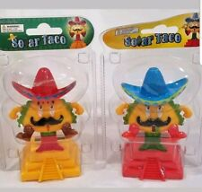 2 NEW 2018 SOLAR POWER MEXICAN TACO SWINGING DANCING BOBBLE HEAD CAR AUTO TOY