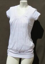 LOLE White Organic Cotton Layered Cap Sleeve Tee Shirt Top size XS S EUC