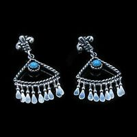 .925 Sterling Silver Natural Blue Turquoise Dangle Post Earrings