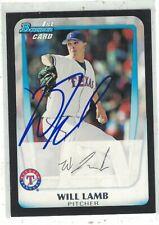 "Will Lamb Texas Rangers 2011 Bowman ""1st Bowman"" Authentic Autograph COA"