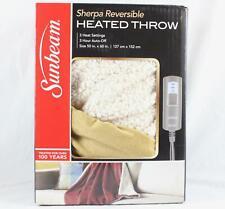 Sunbeam Sherpa RoyalMink Reversible Heated Throw Honey Blanket 3 Settings NEW
