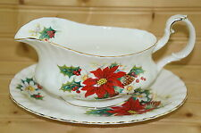 """Royal Albert Poinsettia Gravy Boat or Sauce Bowl with Underplate, 2-Pieces, 8½"""""""