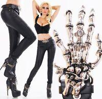 Kunstleder Jeans WetLook Leder Hose Röhrenjeans Skinny Skelett Hand Gürtel XS-XL