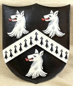 Antique Carved Wooden Shield Coat of Arms Family Crest Painted 19th Century Art
