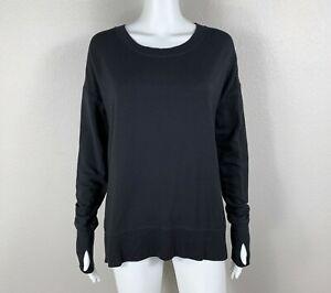 ATHLETA Coaster Luxe Sweatshirt Pullover Black Modal-Blend EUC!! Small - NTSF