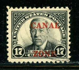 """CANAL ZONE Used Selections: Scott #91 17c Black WILSON SHARP """"A"""" CV$2+"""