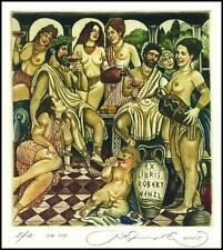 Kirnitskiy Sergey 2005 Exlibris C4 Erotic Erotik Nude Nudo Woman Wine Angel 111
