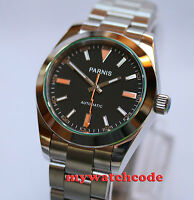 40mm PARNIS black dial sapphire glass miyota automatic movement mens watch P201