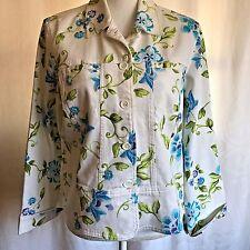 Lemon Grass Studio Womens Jacket White Floral Turquoise Purple Green Size XL