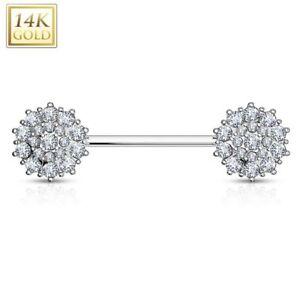 Piercing Nipple Flowers Gold White 14 Carat