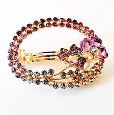 USA BARRETTE Rhinestone Crystal Hair Clip Hairpin Bridal Flower Gold Purple  F02