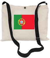 Flag of Portugal Canvas Musette Bag 40x30cm, 150cm Long black adjustable strap