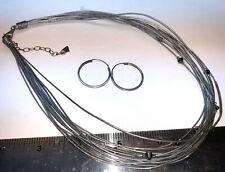 Silpada multistrand leather necklace + hoop earrings 925 sterling silver lot