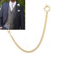 Brand New  Gold Colour Albert Pocket Watch Chain With Spring Ring