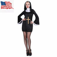Women Sexy Black Nun Costume for Female Adult Cosplay Party Fancy Dress Outfit