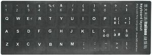 Italiano Italian Keyboard Stickers Opaque Black Background White Letters
