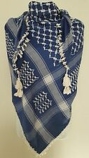Dark Blue and White Arab Shemagh Head Scarf Neck Wrap Cottton Cover Unisex