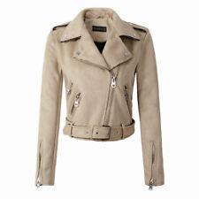Women Suede Faux Leather Jackets Lady Fashion Motorcycle Coat Biker Outerwear