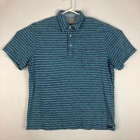 Mens XL Faherty Short Sleeve Golf Polo Shirt Blue & Green Striped Pocket Soft