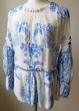 ROBERTO CAVALLI Blue & White Floral Silk Sheer TUNIC Blouse 40