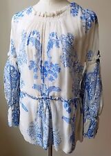 ROBERTO CAVALLI Blue & White Floral Silk Sheer TUNIC Blouse 40
