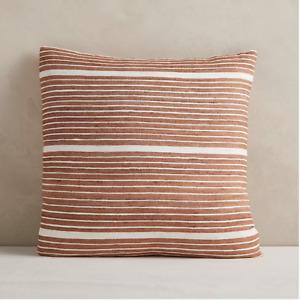"NWT West Elm SILK Mini Stripe Pillow Covers, Copper 20x20"" Rust/Orange Striped"