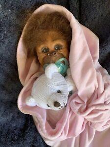 Sweet Reborn Baby GIRL Doll Monkey was Binki COMPLETED baby