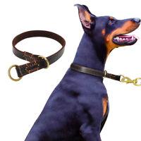 Brown Genuine Leather Dog P Choke Collar for Training Medium Large Dogs Pitbull