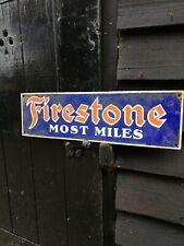 Firestone Letrero Esmaltado Más Miles Neumáticos Porcelana Signo Neumático Tires