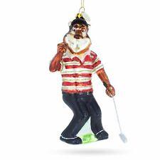 Tiger Playing Golf Glass Christmas Ornament