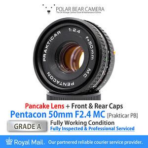 ⭐SERVICED⭐ PENTACON 50mm F2.4 *Pancake* MC Prakticar PB Mount + Caps [GRADE A]