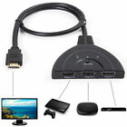 3 Port 1080P HDMI AUTO Switch Splitter Switcher HUB Box Cable for DVD HDTV GO