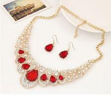 Trama grossa Gold Tone Red arrugginite Diamante crystaltear Goccia Collana & Orecchino Set